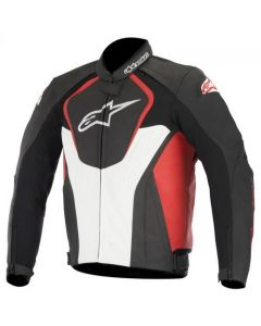 ALPINESTARS JAWS LEATHER JACKET BLACK/WHITE/RED