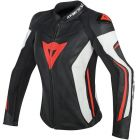 DAINESE ASSEN LADY LEATHER JACKET BLACK/WHITE/RED FLUO
