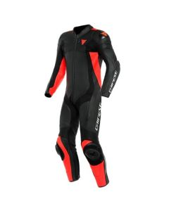 DAINESE ASSEN 2 1 PIECE PERFORATED SUIT BLACK/FLUO RED