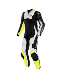 DAINESE ASSEN 2 1 PIECE PERFORATED SUIT BLACK/WHITE/FLUO YELLOW