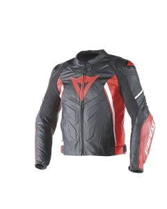 DAINESE AVRO D1 LEATHER JACKET BLACK/RED/WHITE
