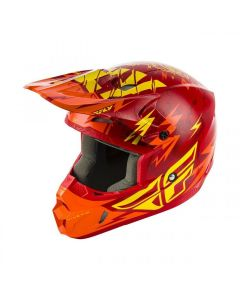 FLY KINETIC SHOCKED YOUTH HELMET RED/YELLOW